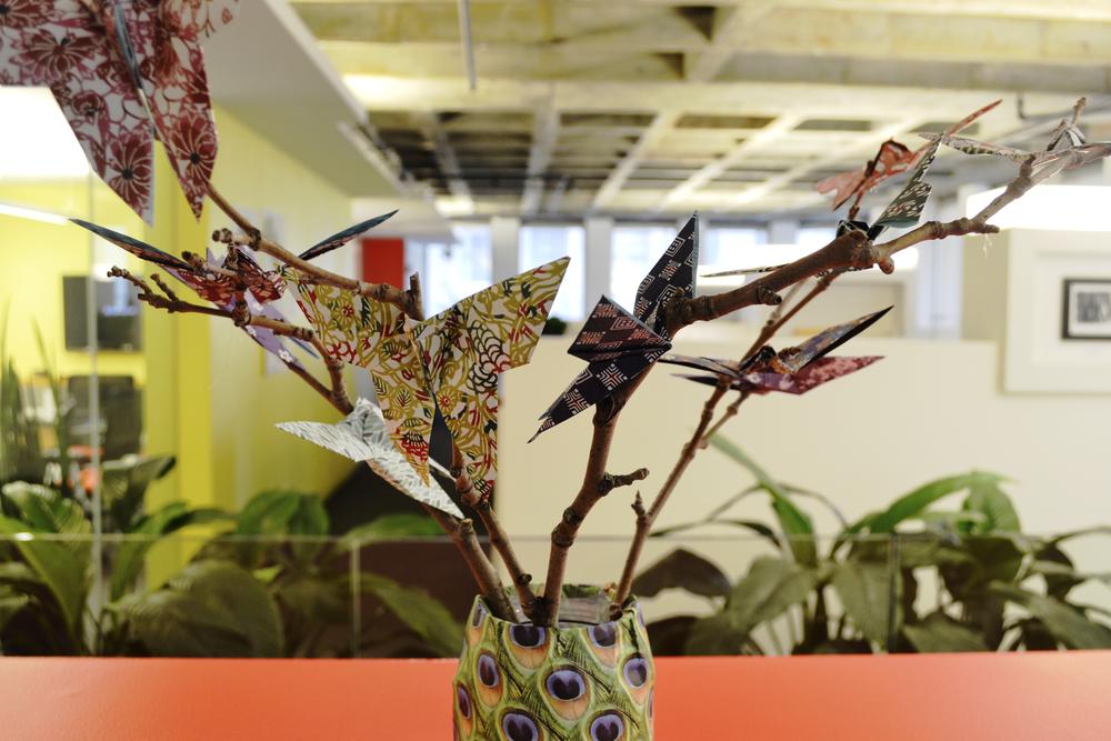 Our Mechanical Eningeering Co-op Leah Okrainsky's origami sculpture