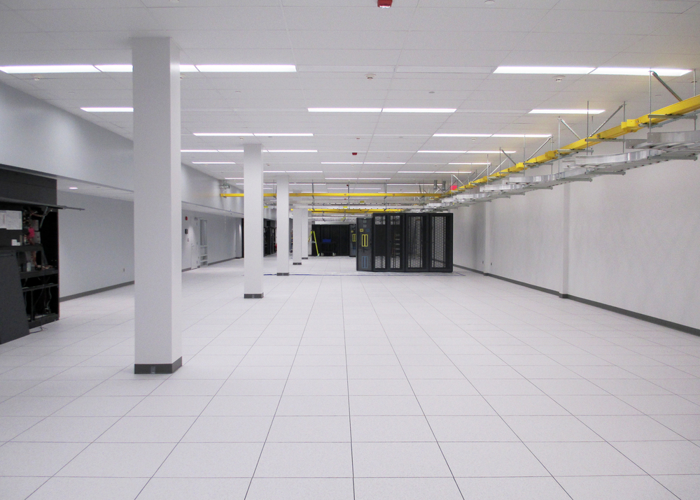 A computer room ready for move-in at Oxford Networks' Brunswick Data Center in Maine.