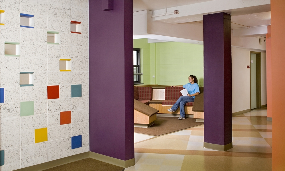A much needed dormitory renovation improves college life for students at a state university