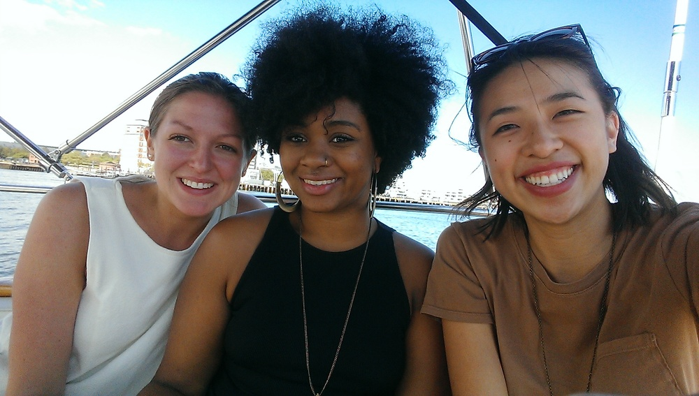 Nicole Hamlet, Sabrina Debrosse, and Francesca Huynh spend some quality time on Boston Harbor.