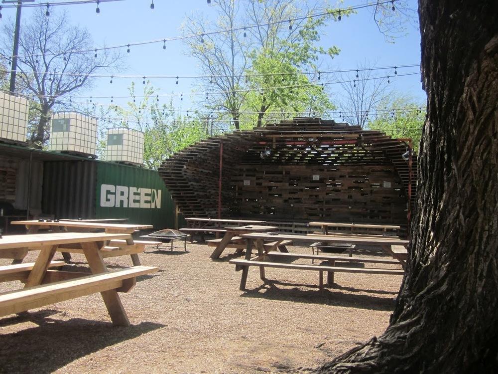 Outdoor stage at Chicken Scratch in Dallas, TX.