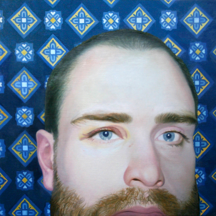 "Self Portrait Oil on Panel 12"" x 12"" 2009   sold"