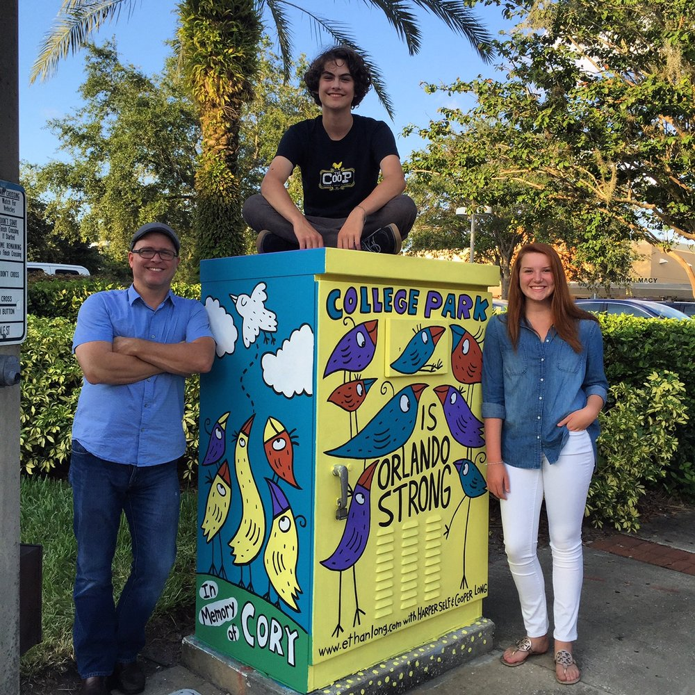 I work directly with the  College park Partnership  in Orlando, Florida creating artwork for their utility box initiative. We have painted 9 boxes to date.