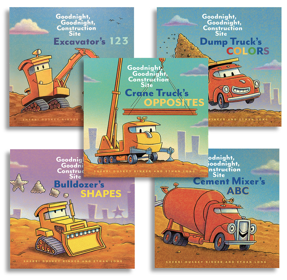 Chronicle Books  chose me to illustrate the 5 board book companions to the New YorK Times Best-Selling series,   Good Night, Good Night Construction Site     written by  Sherri Duskey Rinker . There are 6 more books in discussion.