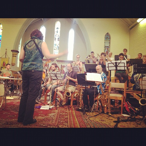 The Kinetic Jazz Orchestra rehearsing a piece that was apparently written for me!