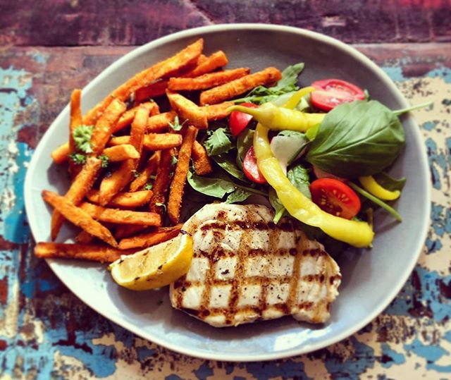 THIS WEEK @cafedebayonne ~ grilled swordfish steak with sweet potato fries and a salad ~ 🤤 #nom #nom #nom