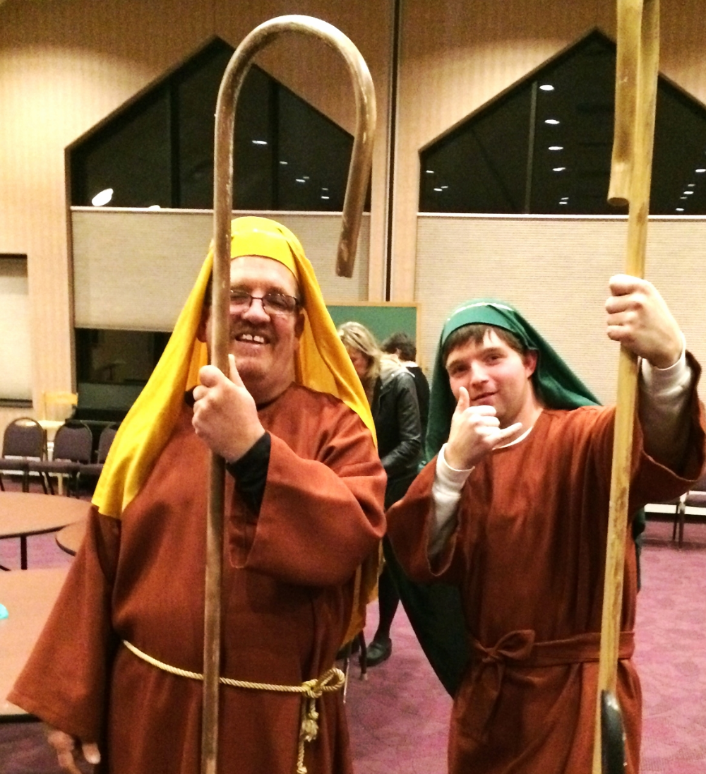 Dan and John at our Potter's Wheel Christmas Pageant last year!!!  They were shepherds!