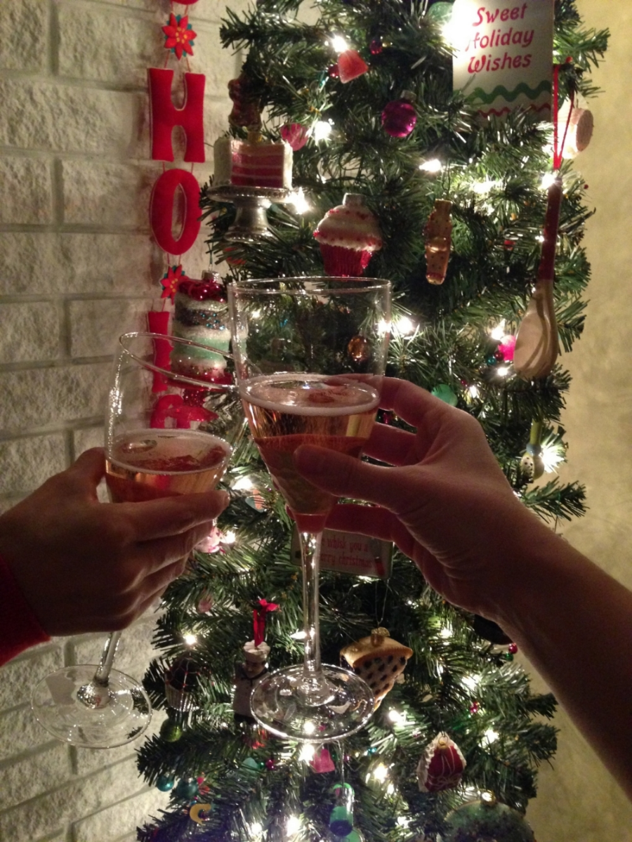 Emily and Audry giving a Cheers at home this Holiday Season!  Our home loves to celebrate and sip champagne!    photo cred: Emily!