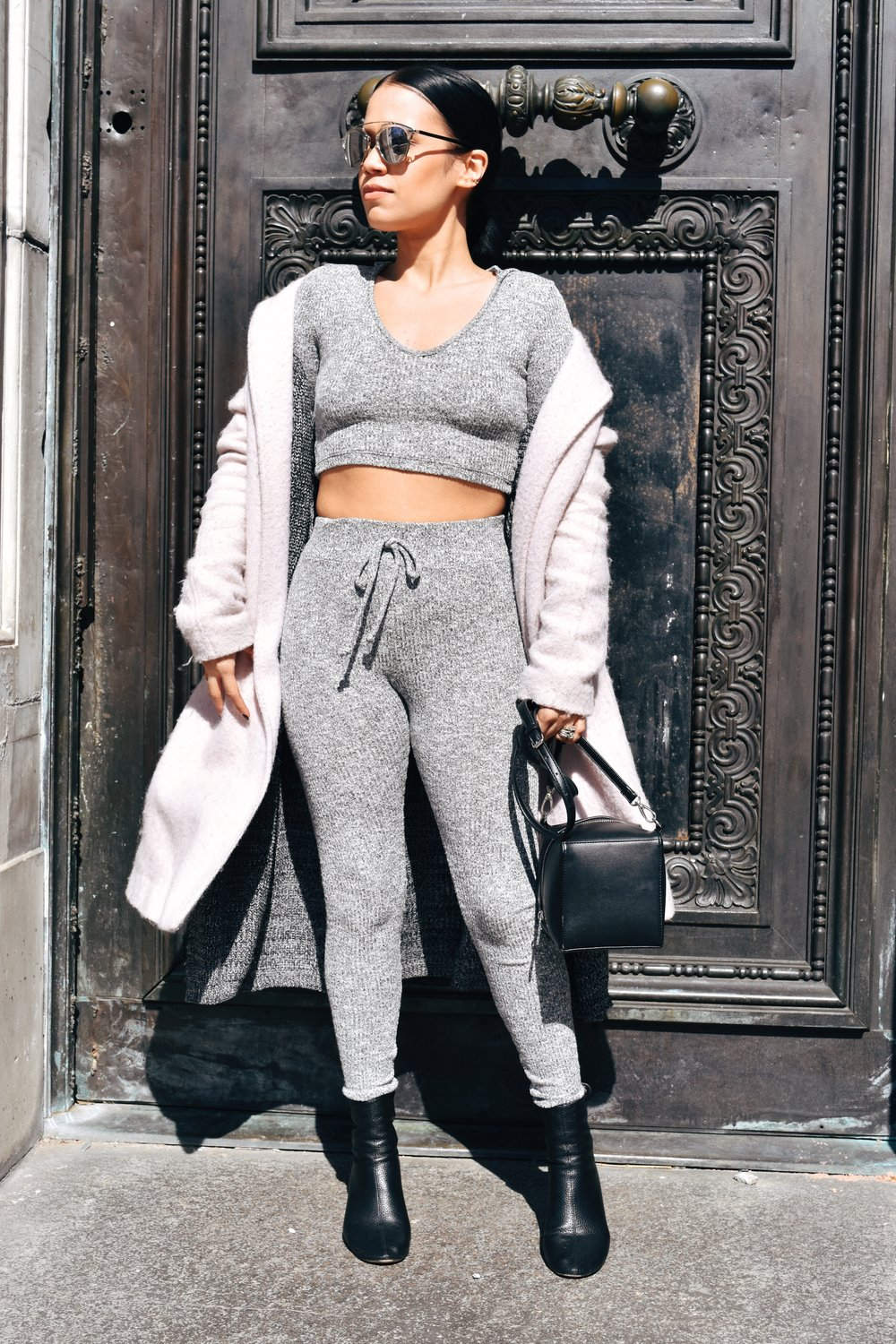 Fashion Nova grey set | ASOS booties | Dior sunnies | Overcoat from Urban Outfitters