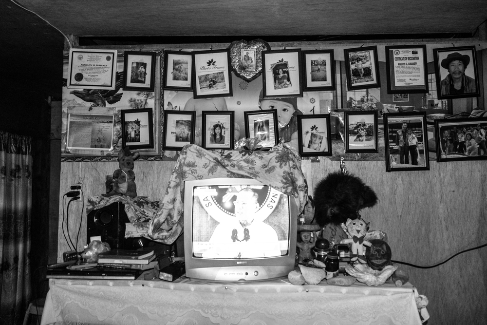 A television in one of the houses in the community, with the annual State of the Nation of Address tuned in. TetelpokVillage, Kabayan, Benguet.