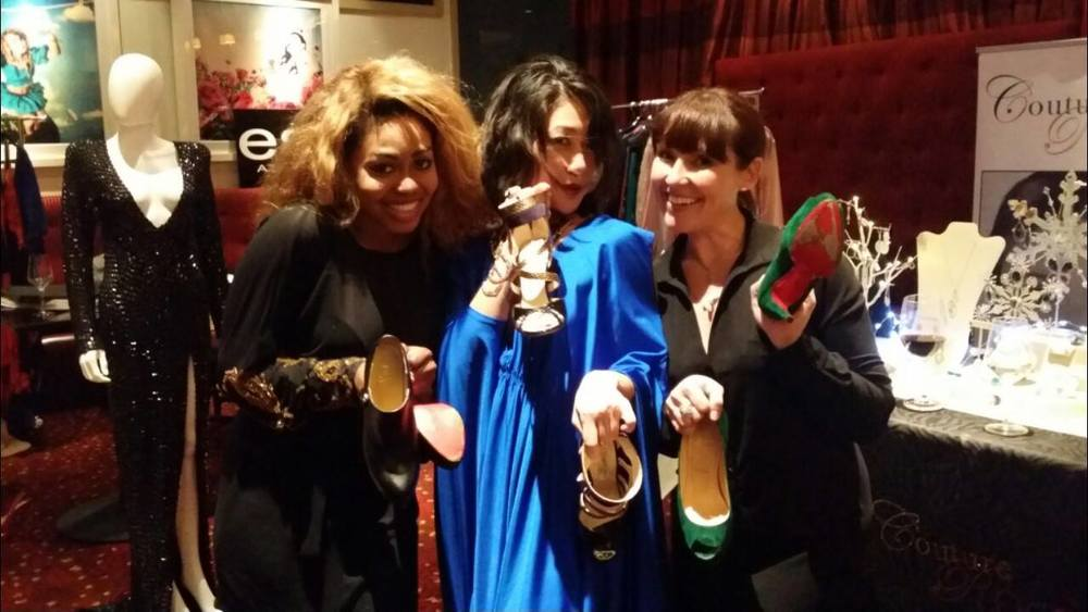 Ese Azenabor, Mindy Loll and Carinthia Kishaba - evening is over- shoes off!