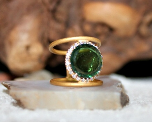 25% off! - Green Tourmaline with diamonds!
