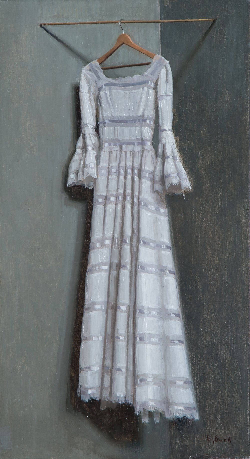 White Dress Hanging  11x20  'private collection'