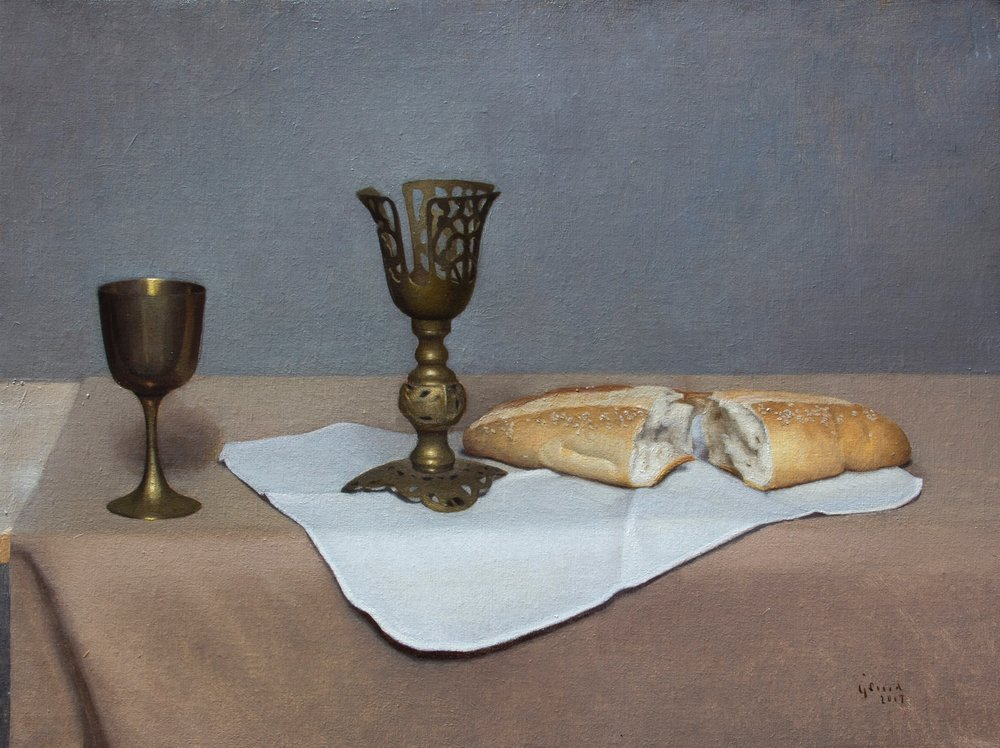 """The Eucharist.  'Private Collection'  The Eucharist Contemplation  Setting up for a painted still-life of the bread, and the wine with words like holy communion, sacrament, ordinance, symbol, and most of all religion crossing my mind. I thought of the significance that these cups are empty and the bread will be old by the end of my painting and have no taste. What do these objects, and our relationship with them have to do with Christ?  It is admittedly difficult to connect with this divine mystery that is The Eucharist. So, as I set out the objects that I recently purchased at second hand stores and bread bought at a local Greek bakery in Queens, NY, I found My best option to be to contemplate.. his blood, his body..  As I sit, I recognize the disconnect between the Eucharist and my life. I could not view this bread as more than bread or the wine to be more than wine. One of my two Chalices would not even hold wine. I was attracted to its ornate form and beautiful design, but it was useless as an object to hold the Holy Wine. It recalled times in the early church where Religion and grandeur overshadowed Christ-like love and community.  In this still moment of my own human understanding, I became broken and more open to what is divine. The mystery of the Eucharist became more evident in my silent prayer for understanding. Also, the challenge to know of Christ more fully became less of a burden in this time of contemplation and listening.  Jesus Christ gave his disciples bread and wine and said, """"Do this in remembrance of me.""""  I then focus back to the setup in my studio in NYC, and decide to paint the objects as they are. I appreciate the more modern composition, the useless but beautiful Chalice along side a more simple chalice holding wine, and off course the broken bread.  Now, having a drawing and a finished painting, I can sit and contemplate the connection between the church in 2018, myself, The Eucharist, and Christ in the midst of that. There is reason to co"""