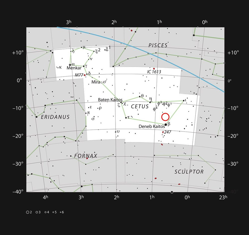 Location of system 1140 in Cetus. The star is too faint to be seen with small telescopes.  Credit:  ESO/IAU and Sky & Telescope