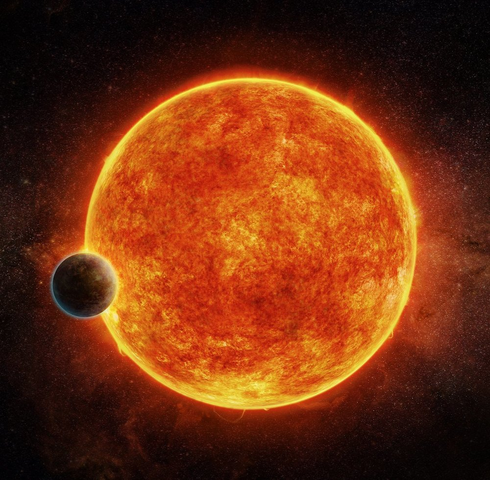 Artist's impression of 1140b. The blue part on the back of the planet depicts the atmosphere the planet might have retained.  Credit:  M. Weiss/CfA