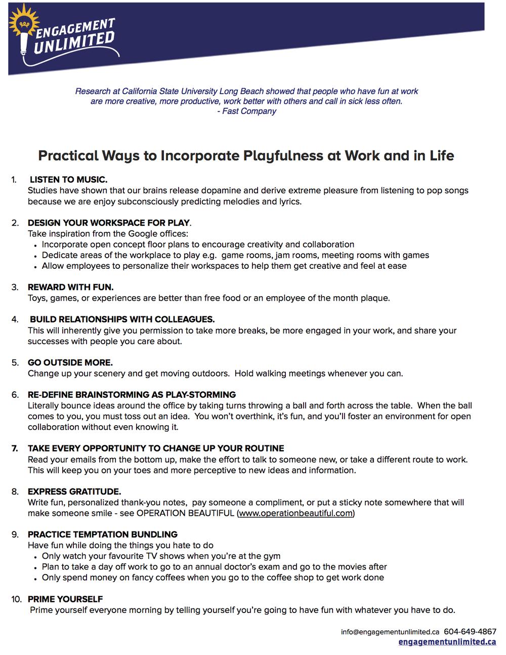 PracticalTipsPlayfulness