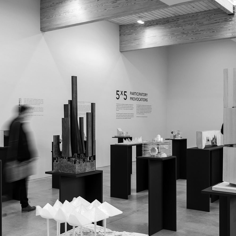 5x5 Participatory Provocations  Exhibit      5x5 : Participatory Provocations  is an exhibit of twenty-five architectural models by twenty-five young American architects. Five contemporary issues, each addressed by five firms.