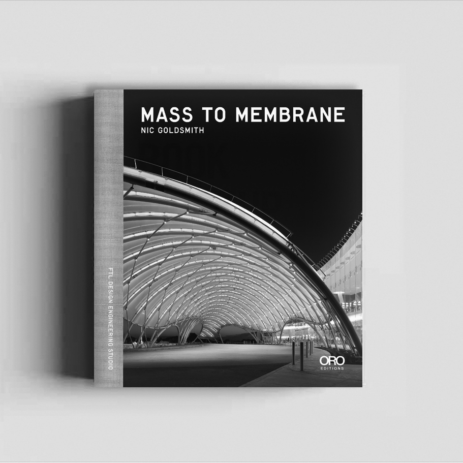 Nic Goldsmith:   Mass To Membrane      In  Mass to Membrane , Nic Goldsmith—Principal of FTL Design Engineering Studio—presents the continuing evolution of building materials, from heavy stone structures to luminous, lightweight, flexible, and environmentally responsible structures.