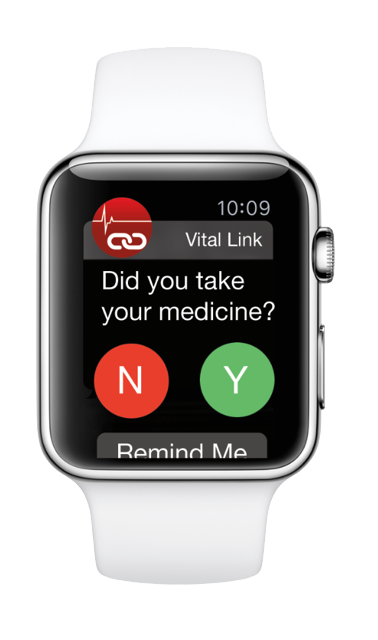 The apple watch will hopefully one day be able to integrate with your health. The mock up above displays Mutare's Vital Link solution.