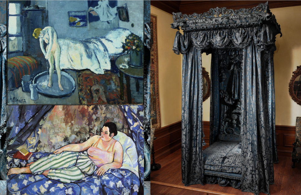 clockwise from top: The Blue Room by Pablo Picasso, State bed for Hampton Court, Herefordshire 1968 and The Blue Room by Suzanne Valadon.