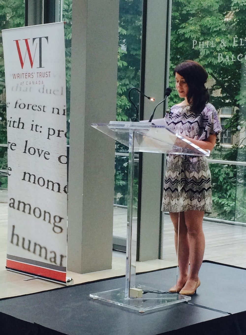 Allegra reading from her story. Photo courtesy of the Writer's Trust of Canada:https://twitter.com/writerstrust/status/740675533793558528