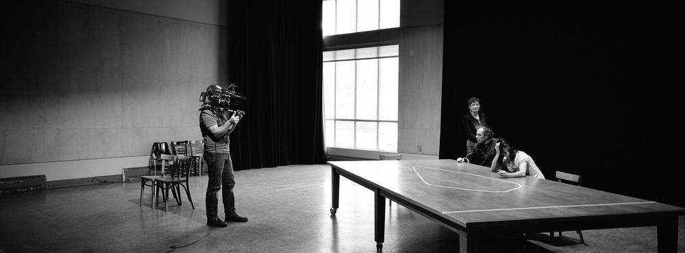 En répétition avec Evelyne de la Chenelière, comédienne, auteure et metteure en scène, pour la piéce Une vie pour deux avec Violette Chauveau et Jean-François Casabonne.