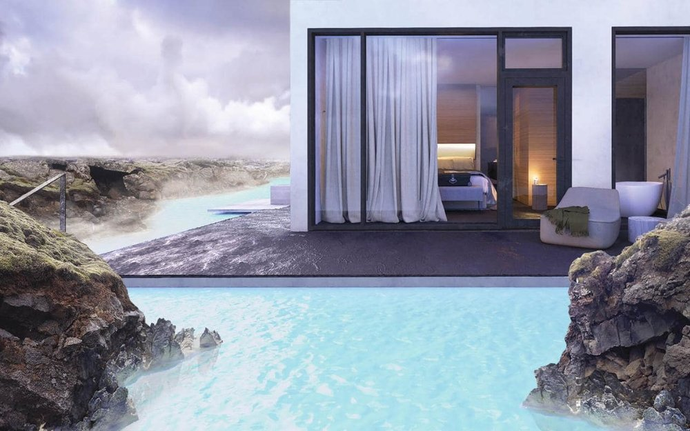 Moss Hotel, Iceland Seemingly afloat in Iceland's iconic Blue Lagoon, the Moss Hotel will be the first luxury hotel of its kind to open in this incredible 800-year-old setting. The angular, futuristic design is set amongst volcanic lava fields and geothermal water in the pure heart of the Icelandic landscape. The Moss Hotel is set to open in Autumn 2017.bluelagoon.com