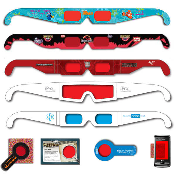 Secret Reveal Decoders Lenses of red/red, blue/blue or any identical colors. Decode secret messages, games, contests and sweepstakes. A great way to promote new products, win prizes and attract attention at trade shows.