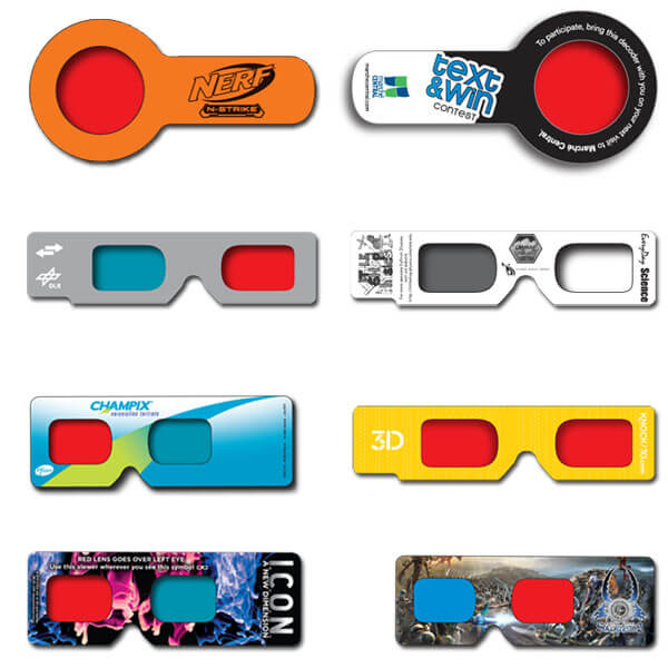 3D Glasses Hand Held Viewers    Can be made with any lens configuration and has no temple stems. Perfect for direct mail campaigns, binding into publications and for  in-pack and on-pack promotions.