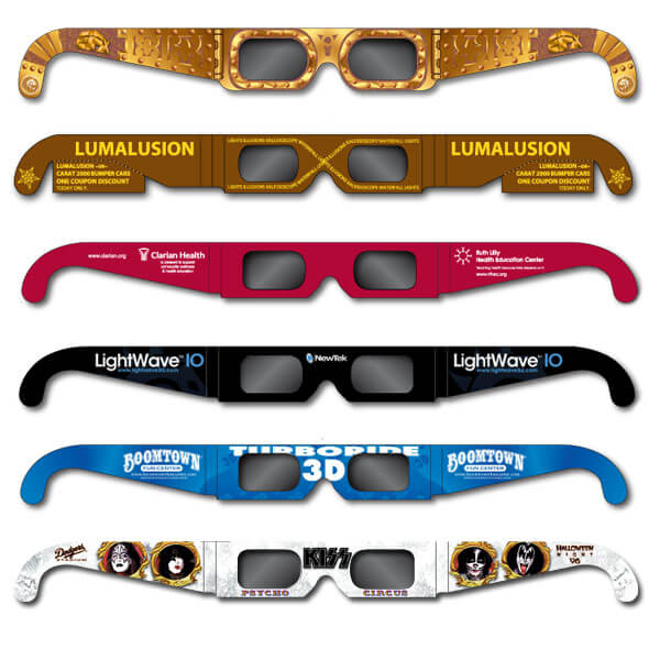 Polarized 3D Glasses     Both linear and circular polarizing lenses. Polarized 3D glasses are used primarily for Passive 3D TV's, 3D laser shows, 3D ride simulators, multimedia displays, corporate presentations and special 3-D movies.