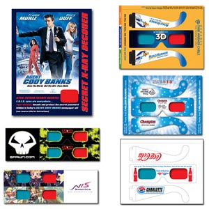 3D Glasses - Bind-In    The right choice when special requirements concerning price, format and space are the consideration. They can be made with any lens configuration and a full range of print options. Used primarily for direct mail campaigns, in-pack promotions and inserts for publications and magazines.