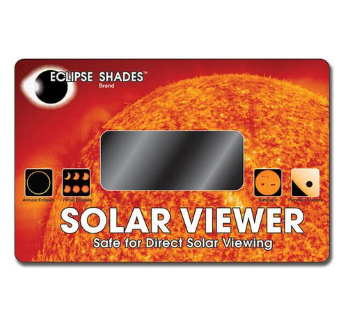 "Solar Viewer - Optical Coated Glass Lens - View Solar Eclipses and Sun Spots. - 5.5"" X 8.5""   07602  Shop Here"