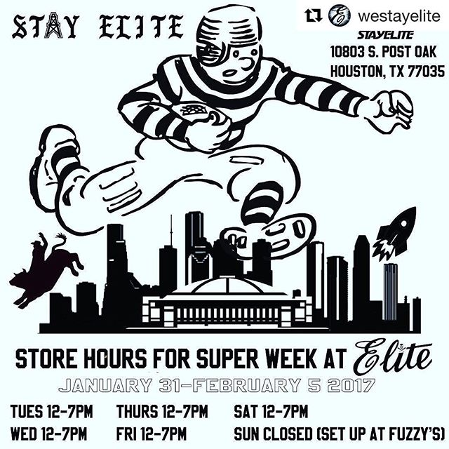 Special hours @westayelite for #SuperWeek right down the street from NRG Stadium where the #Patriots & #Falcons will compete. Come by for new, vintage, & renewed wears inspired by #sports #sounds #sk8 #style open Tues-Sun 12-7pm #PlayElite #StayElite