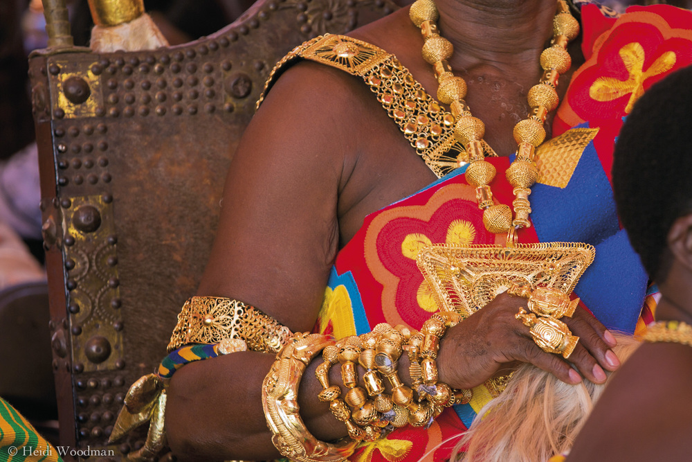 The Ashantis of the Akan people of Ghana and their culture are synonymous with gold in Ghana. Before contact with Europeans they operated an advanced economy based principally on gold, which they traded with neighbouring African countries.    The most striking symbol of the Ashantis spiritual connection with gold is the Golden Stool (Sika 'dwa Kofi). Legend has it that the Golden Stool descended from the sky into the lap of the first Ashanti King, Osei Tutu. It is believed to embody the spirit of all the Ashanti people, living, dead and yet to be born. It is not allowed to touch the ground and no-one has ever sat on it. Without the stool, no-one can be a legitimate ruler and only that person (the Asantehene) is allowed to touch it.  Wars have been fought over it and the last sovereign king was exiled in place of surrendering it to the British. Its importance to the Ashantis cannot be underestimated.
