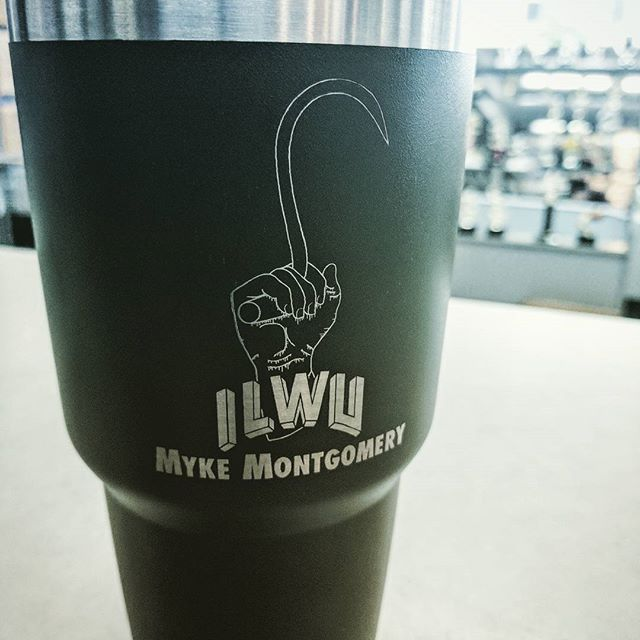 A one of a kind tumbler with custom artwork and lasering. #laserengraved #laserengraving #ilwu