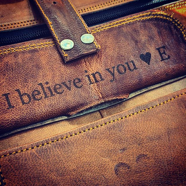 A hidden Valentine's day message. Custom leather engraving always adds such a wonderful personal touch.  #laserengraving #laserengraved #leatherengraving #leatherengrave #leathermessengerbag