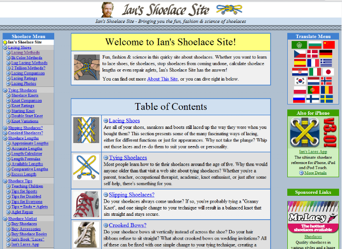Screenshot of Ian's Shoelace Website
