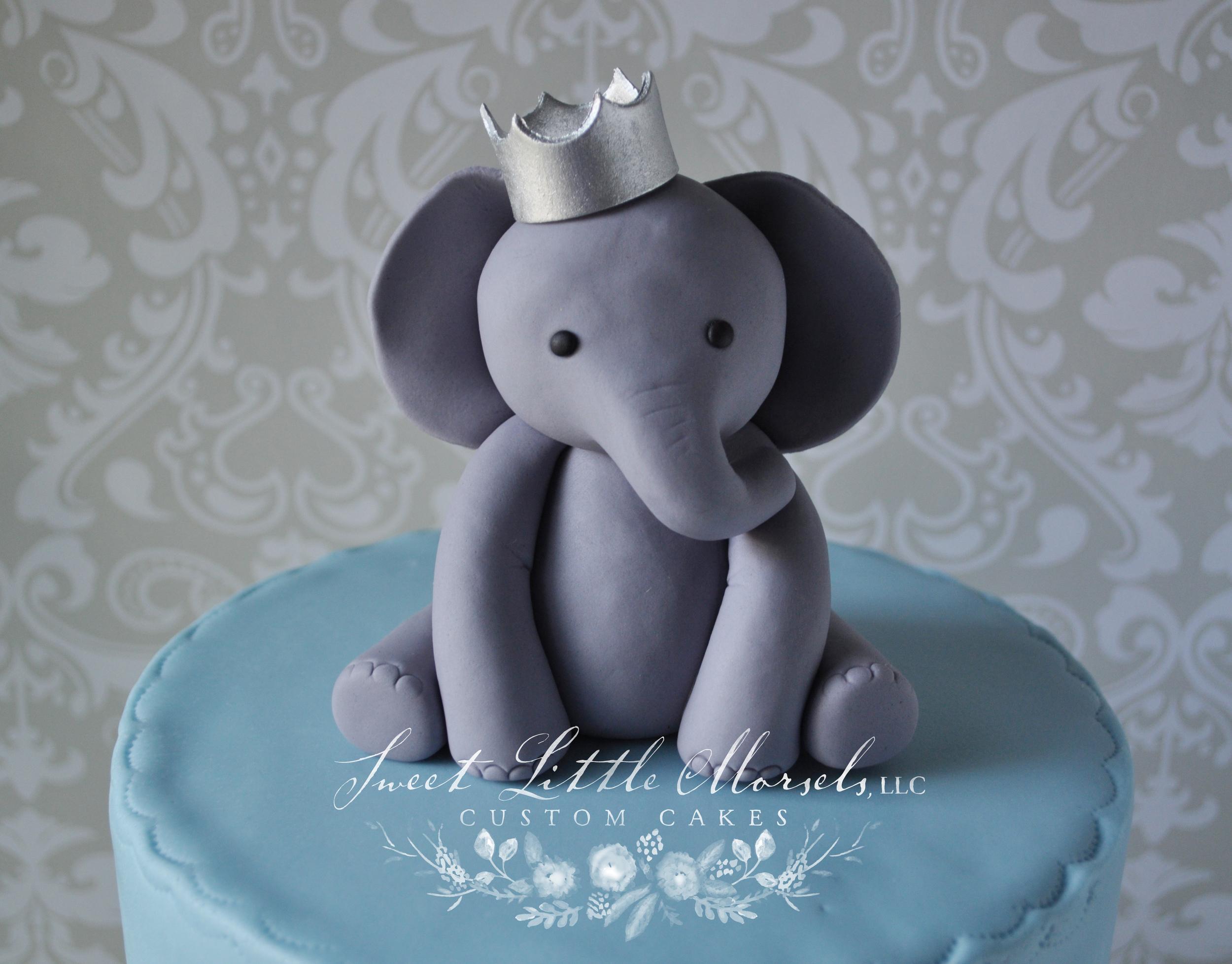 Baby Boy Elephant w Crown Cake Topper Sweet Little Morsels LLC