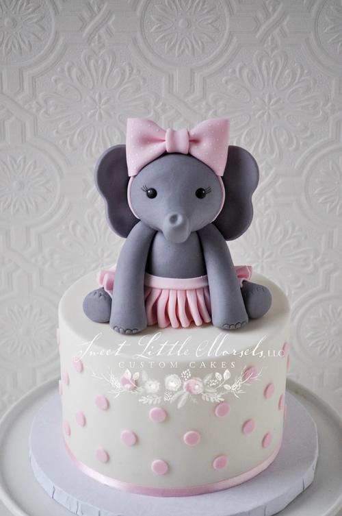 Baby Girl Elephant Cake Topper Sweet Little Morsels Llc