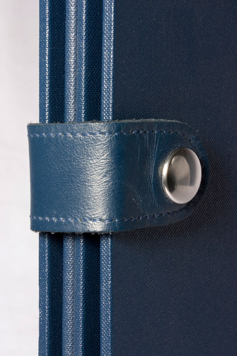 Leather strap and dome on a slipcase