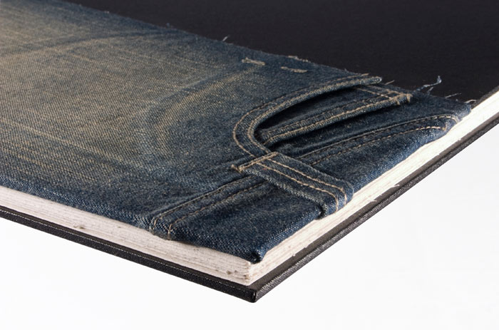 Jeans on book cover, pages with deckled edges