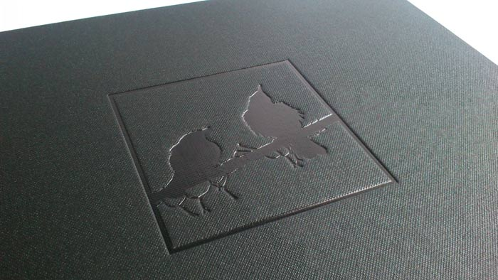 Black gloss foil on black cloth