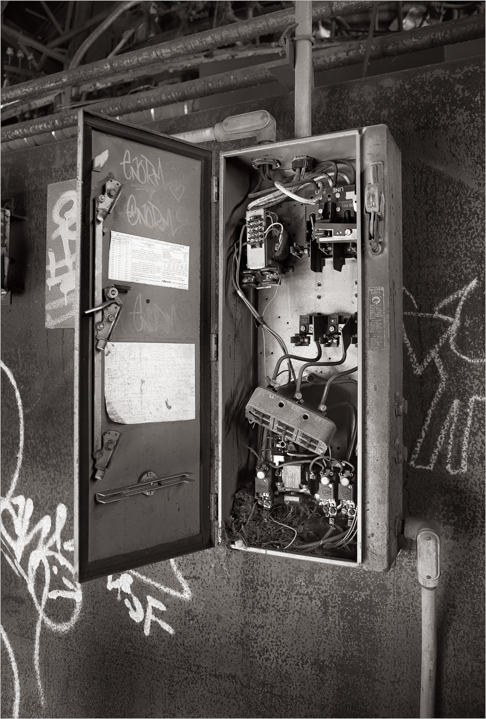 A vandalized electrical box at the Carrie Furnace, an abandoned steel mill near Pittsburgh, PA.