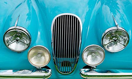Blue classic Jaguar auto.