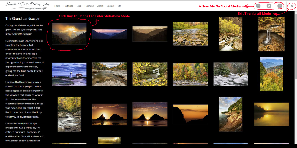 Navigation from a gallery page.