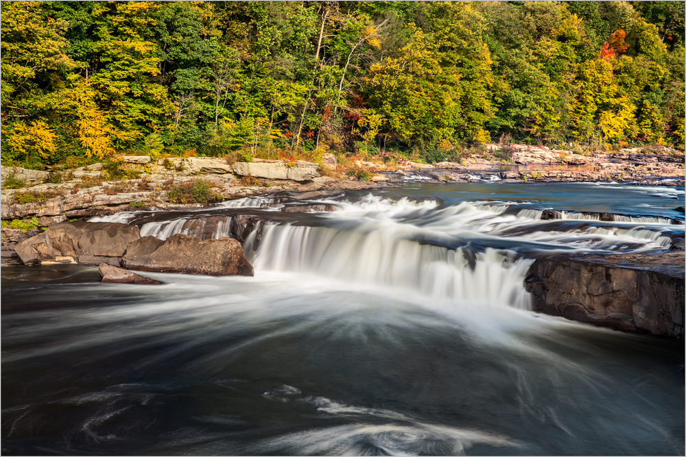 Ohiopyle Falls, the widest falls in Ohiopyle State Park, PA