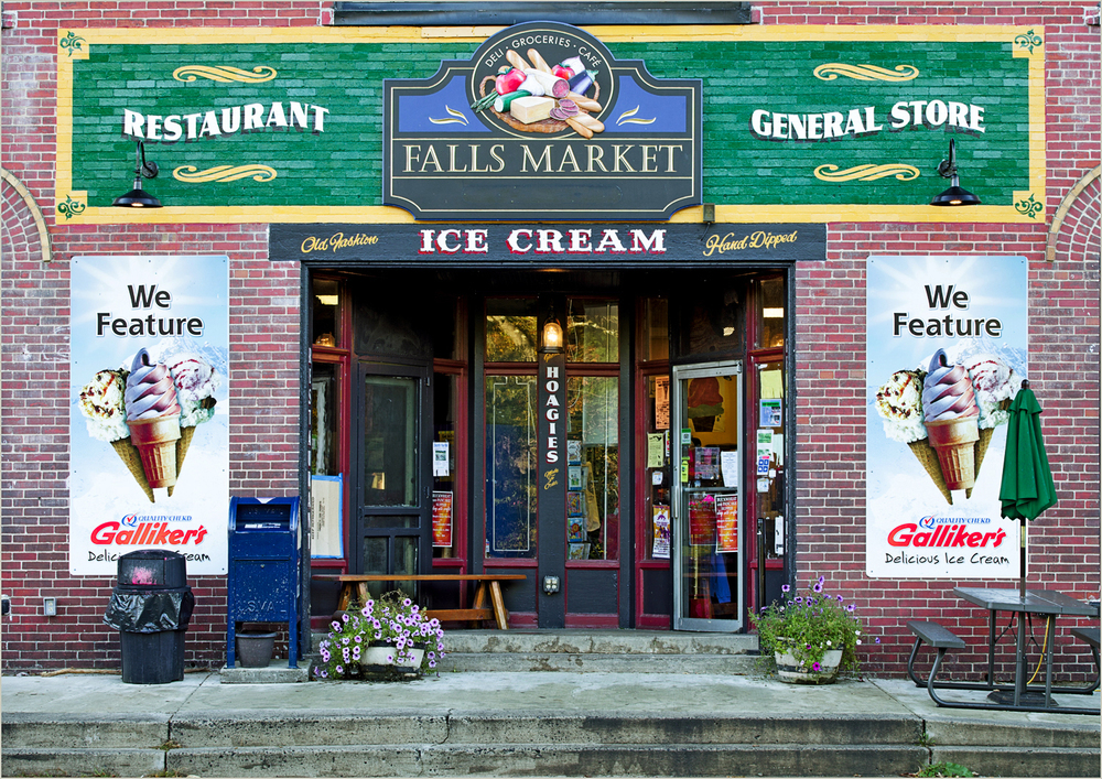 Falls Market in Ohiopyle State Park, Pennsylvania.  Get the 'Moose Track' ice cream!