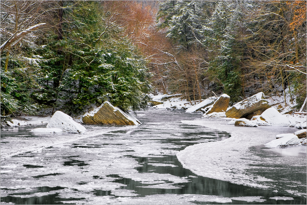 Slippery Rock Creek meanders through McConnell's Mill State Park in winter.