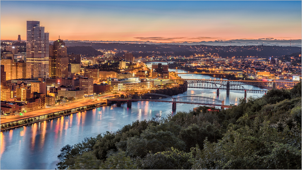 The Monongahela River and Downtown Pittsburgh  from Mt. Washington    © Howard Grill